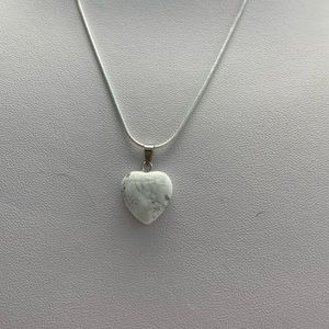 White and Grey Marbled Heart Necklace
